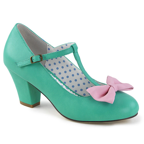 WIGGLE-50 Pin Up 2.5 Inch Heel Teal-Pink Fetish Footwear