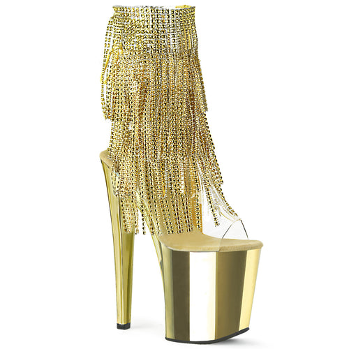 XTREME-1017RSF Pleaser 8 Inch Heel Gold Chrome Platforms Bling Ankle Boots-Pleaser-Miss Hollywood Sexy Shoes