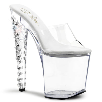 XTREME-801DS CLEAR Pleaser Sexy Shoes 8 Inch Heel, 4 Inch Platforms Slip On Sandals - Miss Hollywood