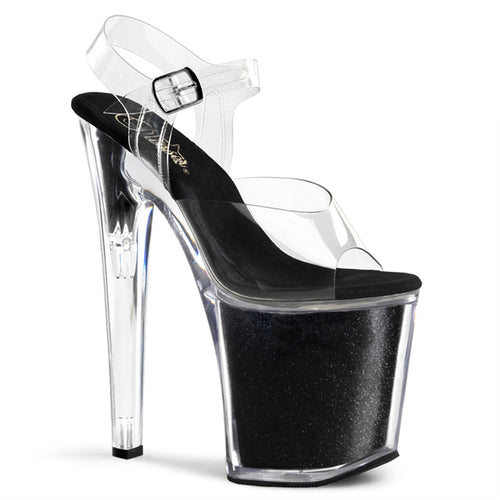 XTREME-808G Pleaser Black Glitter Sexy Pole Shoes with 8 Inch Stiletto Heels
