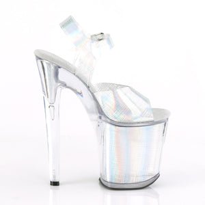 "XTREME-808N-CRHM 8"" Heel Silver Hologram Strippers Shoes"