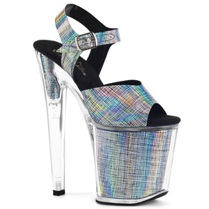 "XTREME-808N-CRHM 8"" Heel Black Hologram Strippers Shoes"