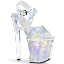 "Load image into Gallery viewer, XTREME-808N-CRHM 8"" Heel Silver Hologram Strippers Shoes"