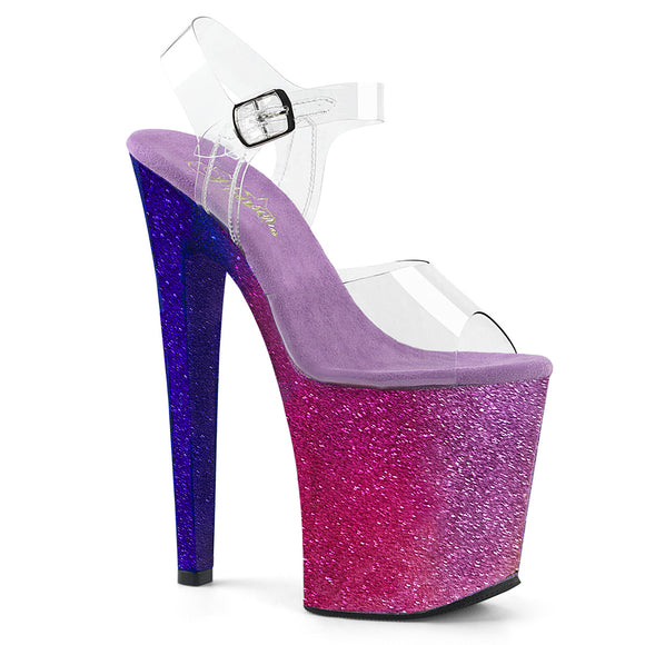 XTREME-808OMBRE Pleaser Sexy Shoes 8 Inch Heel Glitter Platforms Ankle Strap Sandals