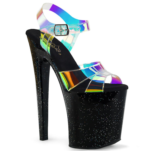 XTREME-820MMR Pleaser Sexy Shoes 8 Inch Spike Heel Glitter Platforms Sandals-Pleaser-Miss Hollywood Sexy Shoes