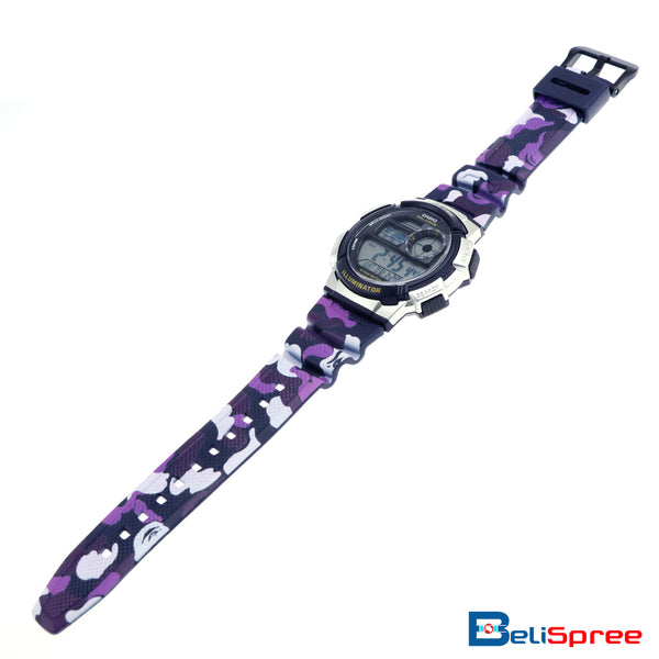 Casio AE-1000W Purple Camo Custom Design Camouflage Edition Resin Watch