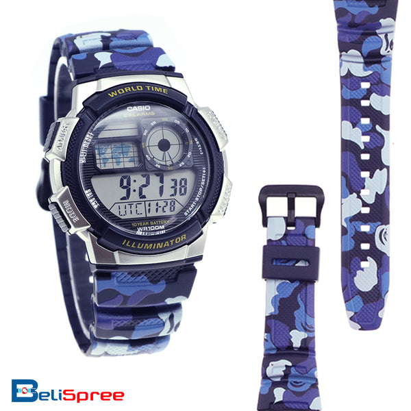 Casio AE-1000W Blue Camo Custom Design Camouflage Edition Resin Watch