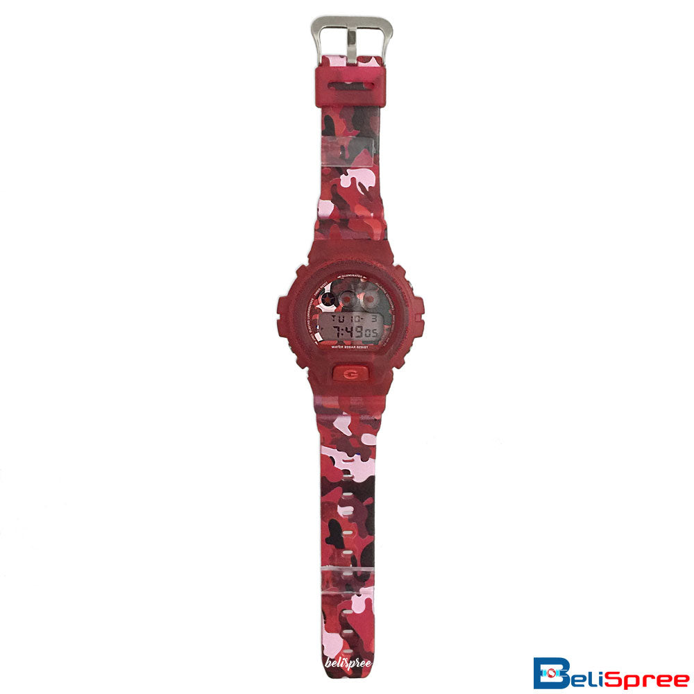 Casio G-Shock DW-6900 Camouflage Red Custom Printed Assembled Resin Watch