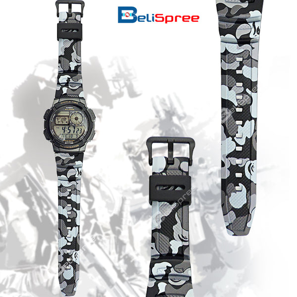 Casio AE-1000W Black Camo Custom Design Camouflage Edition Resin Watch