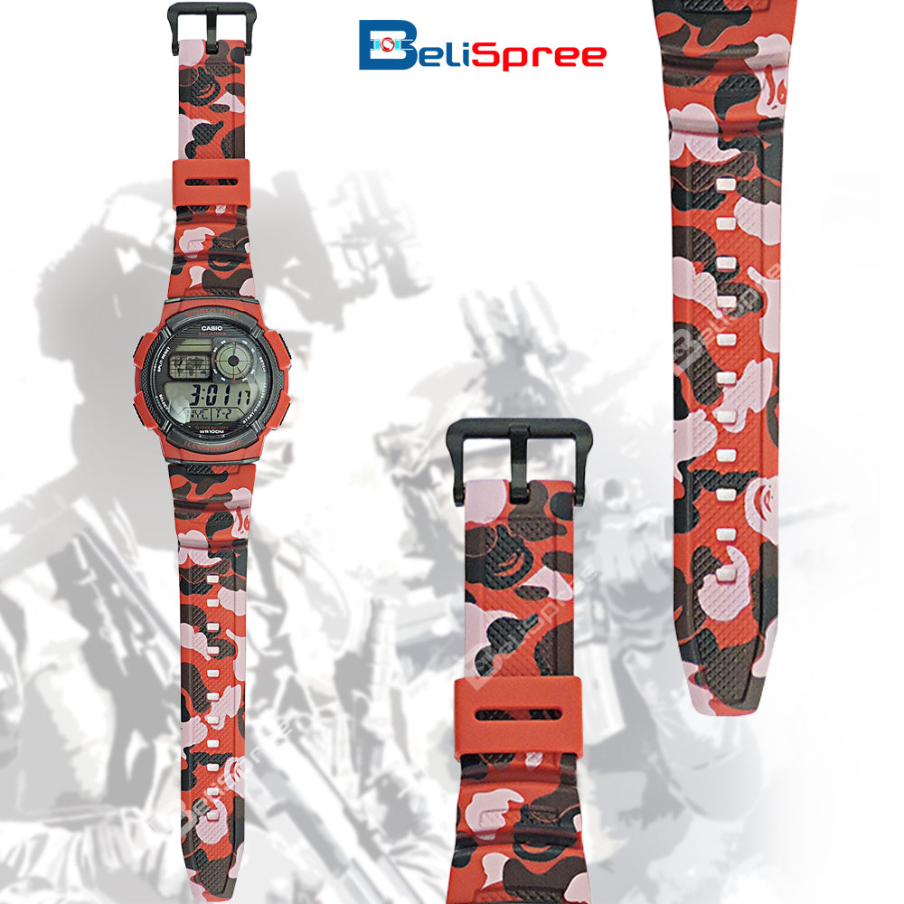 Casio AE-1000W Red Camo Custom Design Camouflage Edition Resin Watch