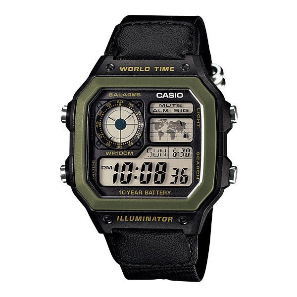 Casio World Map Watch.Casio Ae 1200whb 1bv World Map Multi Time Led Cloth Band Watch