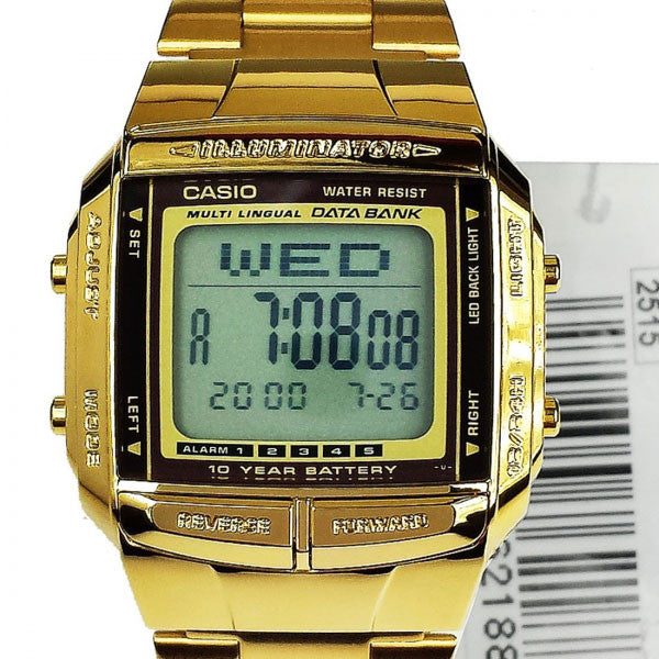Casio Data Bank DB-360G-9A Stainless Steel Gold Watch