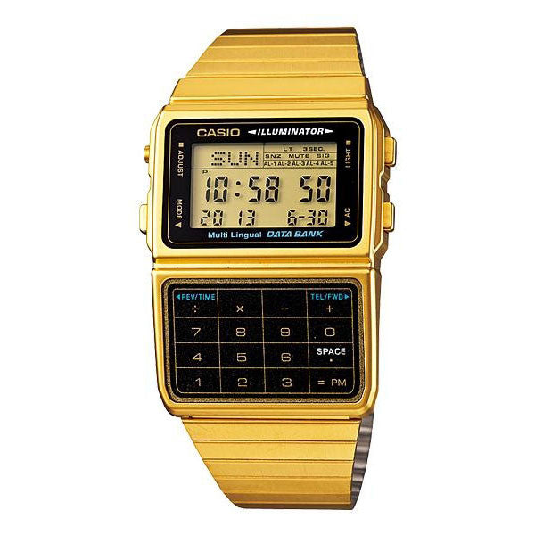 Casio Data Bank DBC-611G-1DF  Stainless Steel Gold Watch