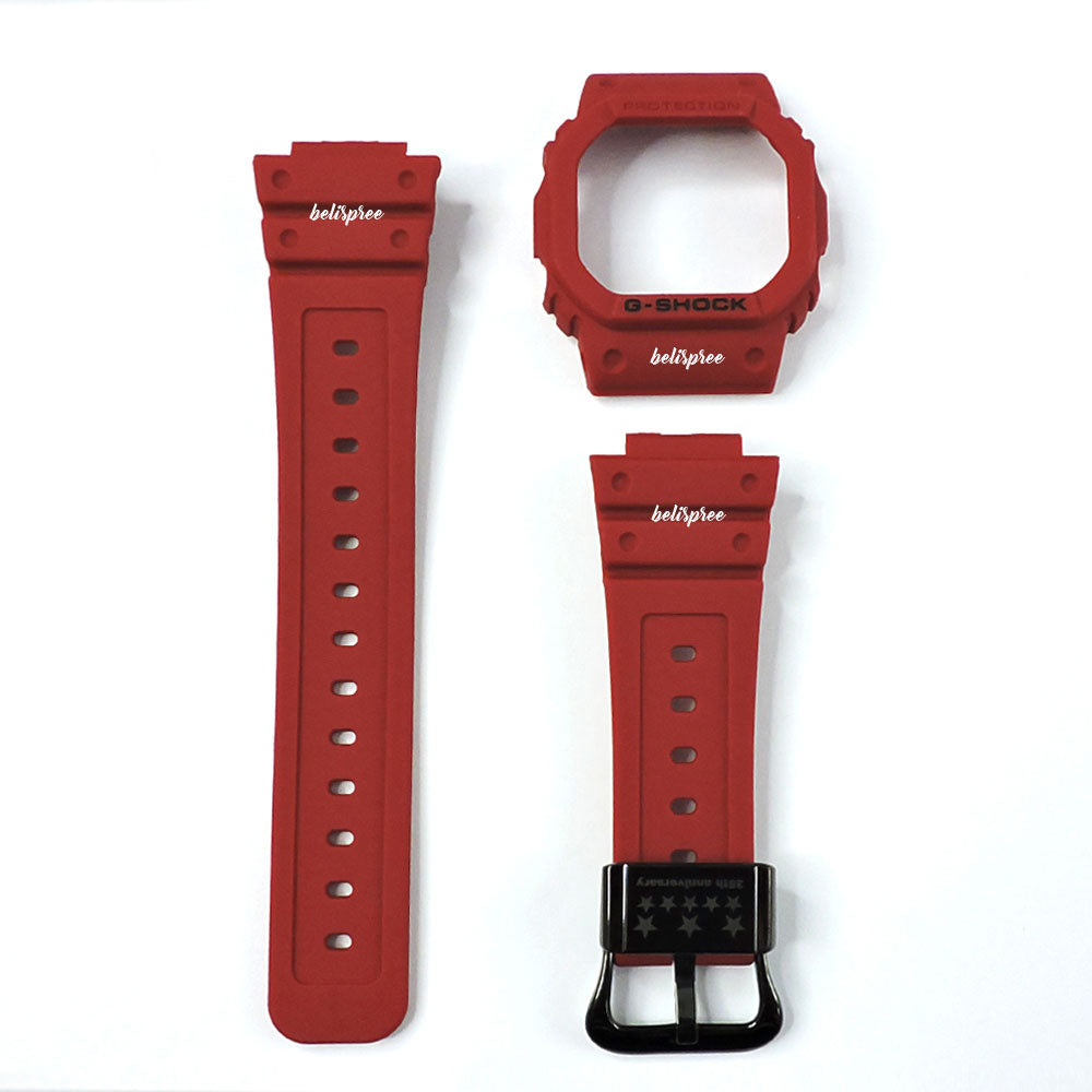 Casio G Shock Dw 5635c 4 35th Anniversary Red Out Watch Resin Band