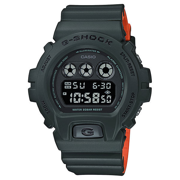 Casio G-Shock DW-6900LU-3A Military Green Orange Resin Watch