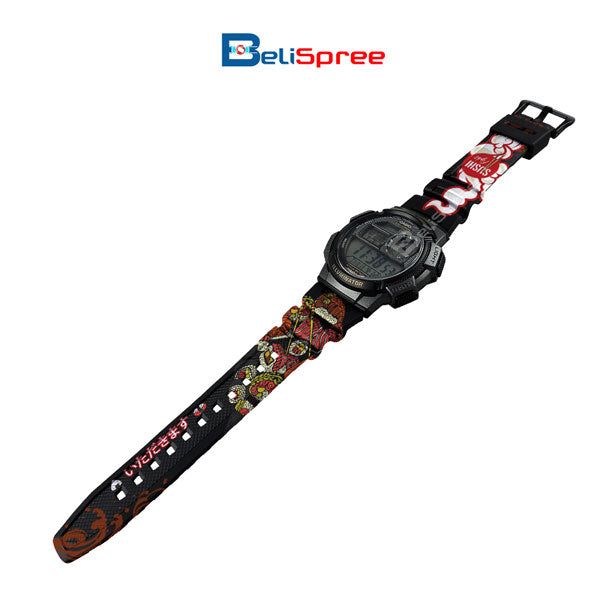 Casio AE-1000W Sushi Fight Custom Design Japan Edition Black Resin Watch