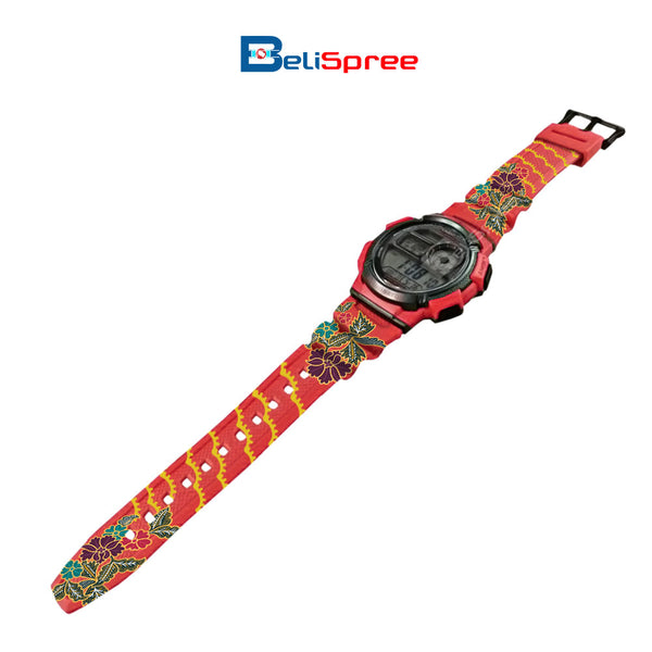 Casio AE-1000W Batik Anggerik Custom Design Malaysian Art Series Resin Watch
