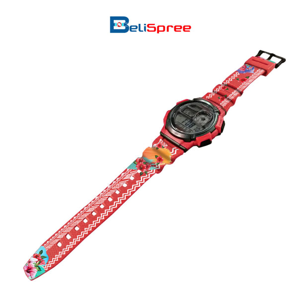 Casio AE-1000W Batik Bunga Raya Custom Design Malaysian Art Series Resin Watch