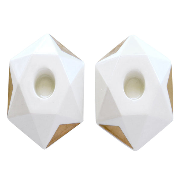 "White and Gold ""Star of David"" Ceramic Candle Holders Clearance"
