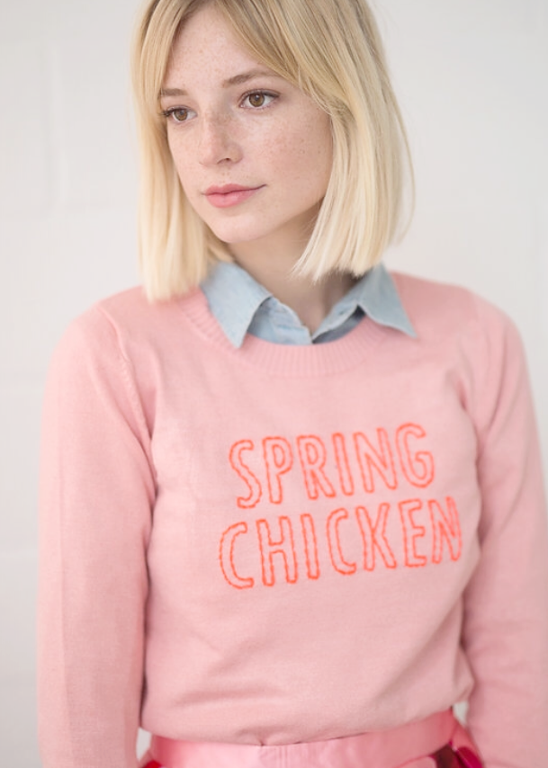 Spring Chicken Sweater - Coral