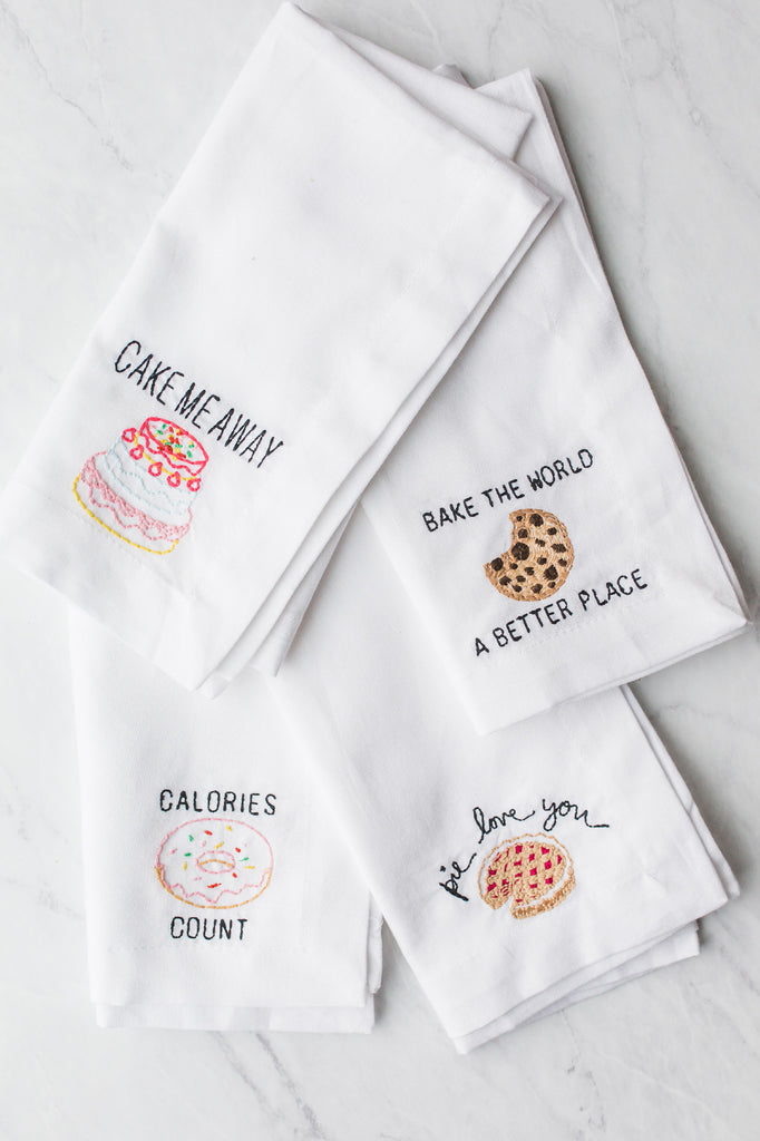 Calories Donut Count Embroidered Napkin
