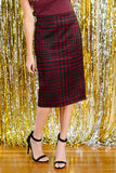 Deep Plum Plaid Pencil Skirt