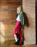 Ruffle Maxi Skirt - Cranberry