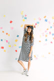 Je T'aime Swing Dress - B&W Stripe