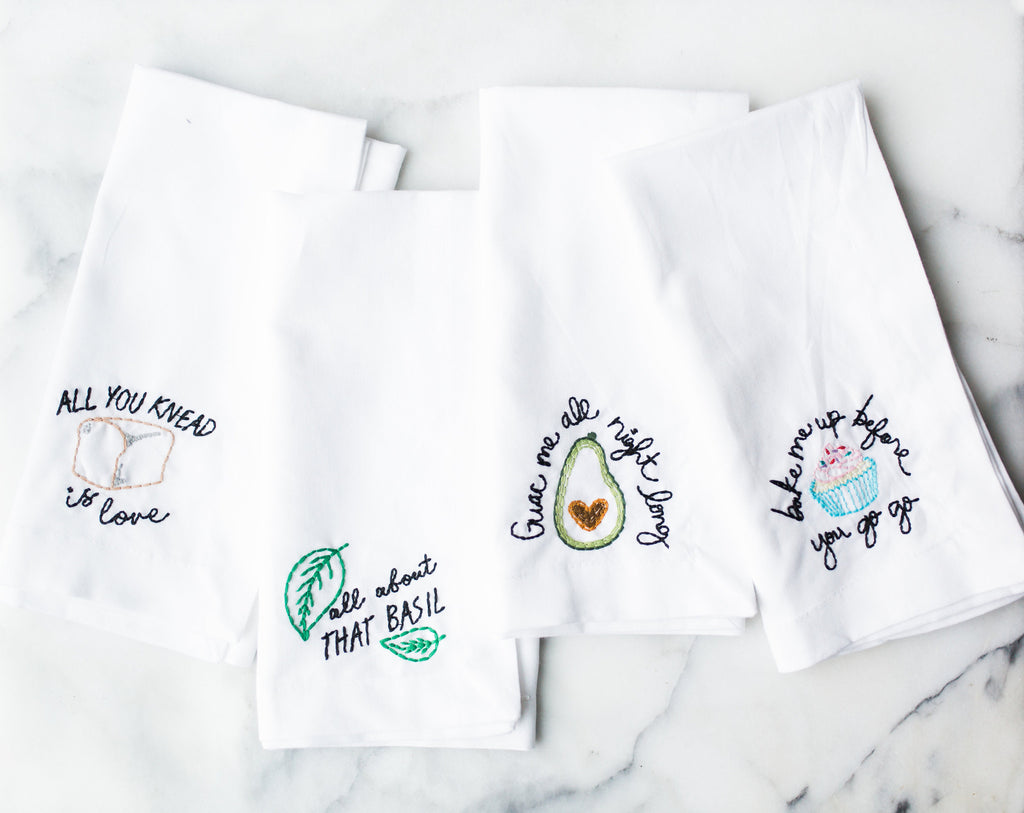 All About That Basil Embroidered Napkin