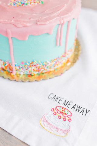 Cake Me Away Embroidered Napkin