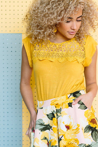 Crochet Tee - Yellow