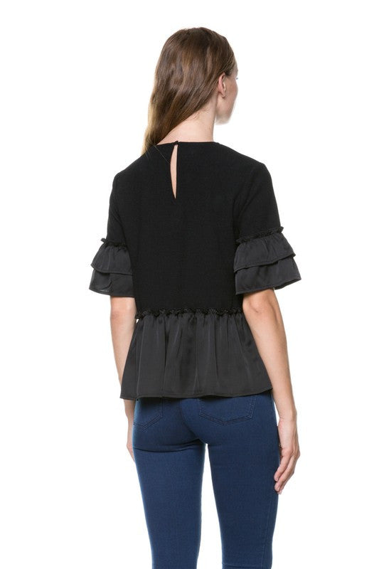 Double Ruffle Peplum Top