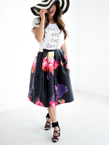 Coming Up Roses Skirt - Black