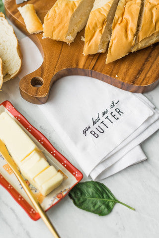 You had me at Butter Embroidered Napkin