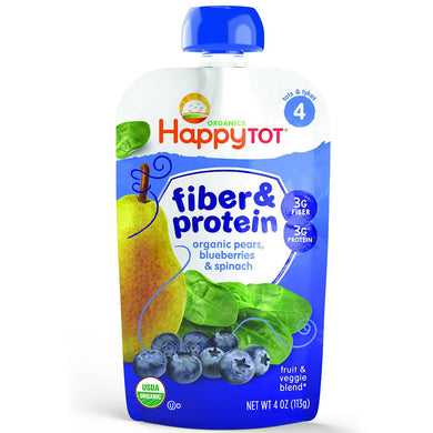 Happy Baby Happy Tot Fiber & Protein, Pears, Blueberries & Spinach, 4 oz (16 Pack)