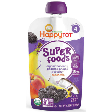 Happy Baby Happy Tot Stage 4 Superfood, Banana, Peach, Prune, & Coconut, 4.22oz (16 Pack)