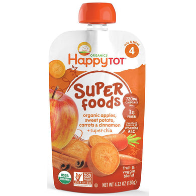 Happy Baby Happy Tot Stage 4 Superfood, Sweet Potato, Apple, Carrot, & Cinnamon, 4.22oz (16 Pack)