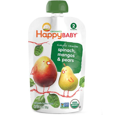 Happy Baby Stage 2 Spinach, Mangos & Pears 3.5 oz (16 Pack)