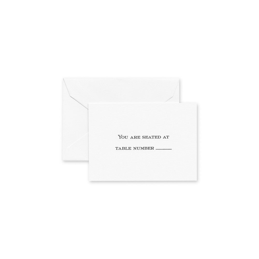Crane & Co. Pearl White Block Text Table Cards