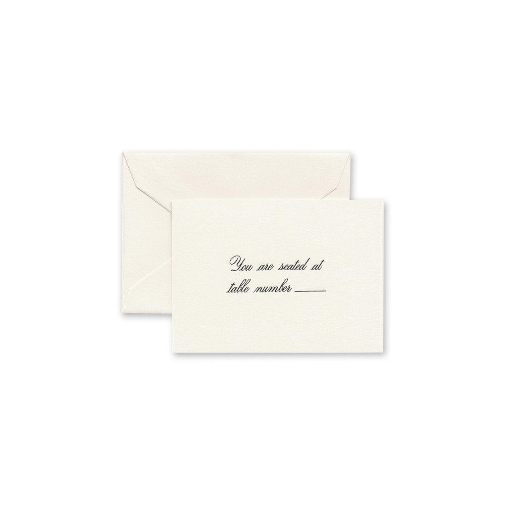 Crane & Co. Ecruwhite Script Text Table Cards