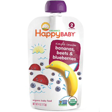 Happy Baby Stage 2 Banana, Beet & Blueberry 3.5 oz (16 Pack)