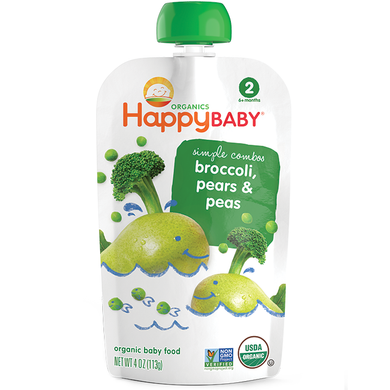 Happy Baby Stage 2 Baby Food, Broccoli, Pear, & Pea, 3.5oz (16 Pack)