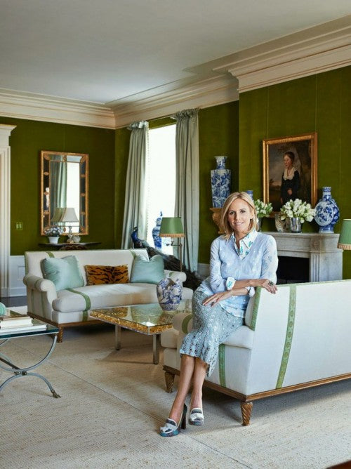 the living room in Tory Burch's in classic 5th Avenue residence