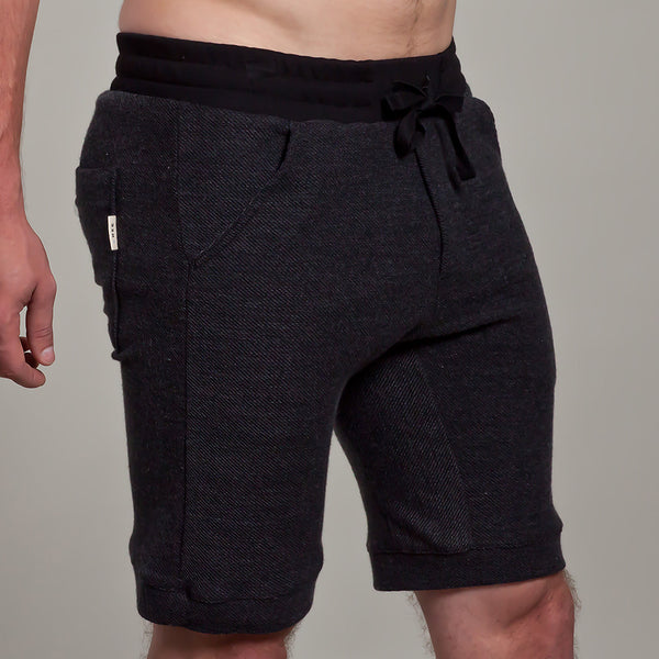 9 Inch short | Twill with Black Ribbing | Charcoal