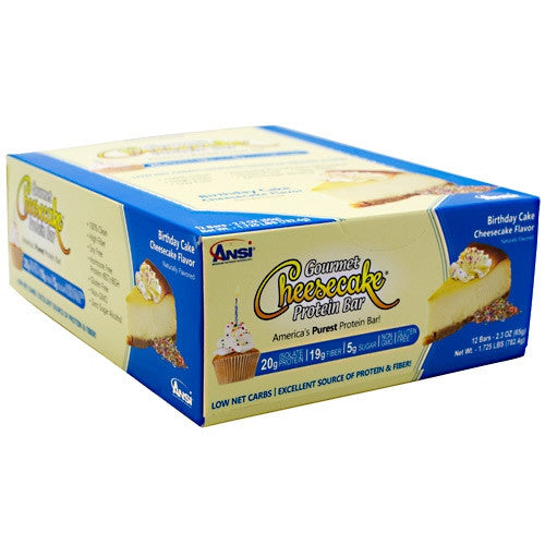 Advanced Nutrient Science INTL Gourmet Cheesecake Protein Bar - Birthday Cake Cheesecake Flavor - 12 Bars - 689570408173