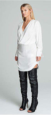 Bless'ed Are The Meek Pilot Shirt Dress Ivory