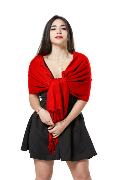 ITALIAN BLEND CASHMERE PASHMINA SCARF - RED