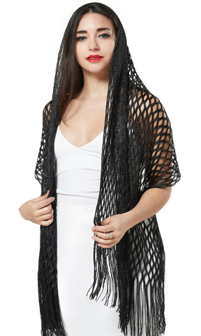 LUREX NET SCARF EVENING WRAP & SHAWL - BLACK