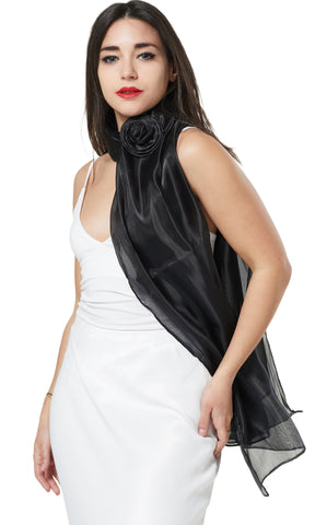 ORGANZA SCARF WRAP WITH MATCHING CONCORD BROACH - BLACK