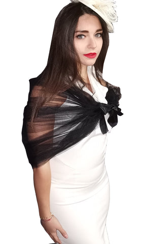 TULLE SHAWL NET CAPE COVER-UP- BLACK